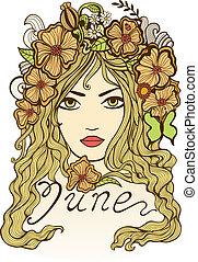 """hermoso, illustration., """"june"""", vector, niña, flores"""