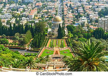 hermoso, imagen, haifa, israel., bahai, jardines