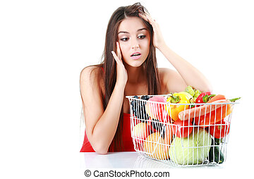 hermoso, imagen, vegetales, mujer, fruits