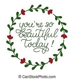 hermoso, inspirador, cita, tan, sketched, postal, tarjeta, ...