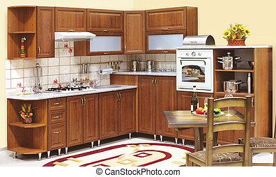 hermoso, interior, cocina, costumbre