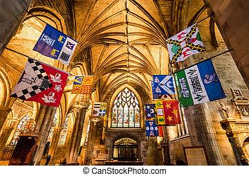 hermoso, interior, de, la catedral, en, edimburgo