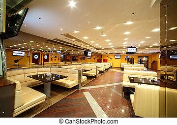 hermoso, interior, de, moderno, restaurante