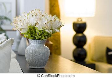 hermoso, interior, flor, diseño, florero