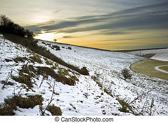 hermoso, invierno, campos, encima, encendido, ocaso, paisaje
