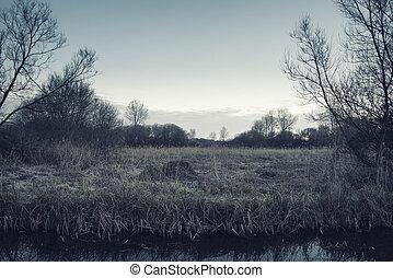 hermoso, invierno, cruz, paisaje, procesado, durante, salida del sol