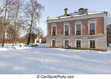 hermoso, invierno, park., orientbaum, park., rusia