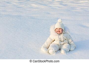 hermoso, invierno, sentado, soleado, juicio nieve, bebé, fresco, blanco, día