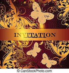 hermoso, invitación, diseño, ele
