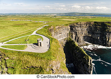 hermoso, irlandés, aéreo, route., famoso, moher, clare, ...