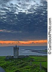 hermoso, irlandés, antiguo, celta, castillo, paisaje