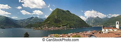 hermoso, iseo, norte, primavera, italia, lago, bergamo, sol, durante, brescia