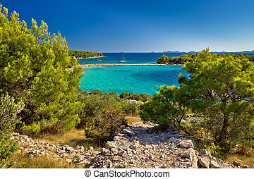 hermoso, isla, murter, playa, esmeralda