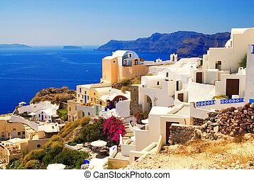 hermoso, isla, (santorini, greece), paisaje, vista