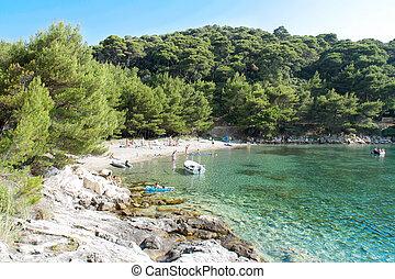 hermoso, isla, saplunara, adriático, playa, mljet