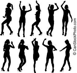 hermoso, isolated., mujeres, silueta, bailando