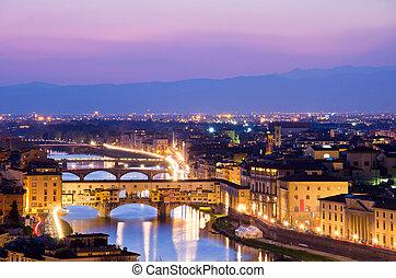 hermoso, italia, encima, ocaso, florencia, río arno