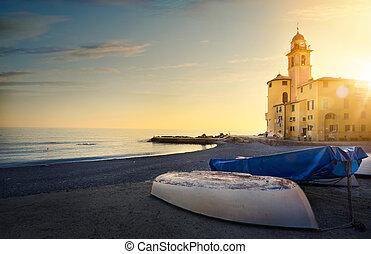 hermoso, italia, landscape;, pueblo de pesca, italiano