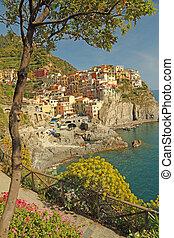 hermoso, italiano, marina, aldea, en, cinque terre, región,...