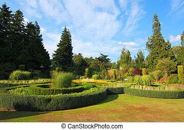 hermoso, jardín, en el parque
