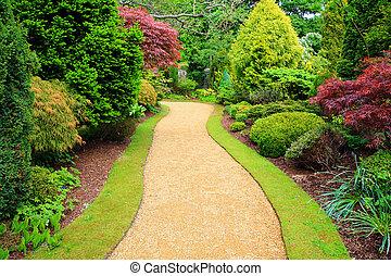 hermoso, jardín, en, primavera, en, escocia