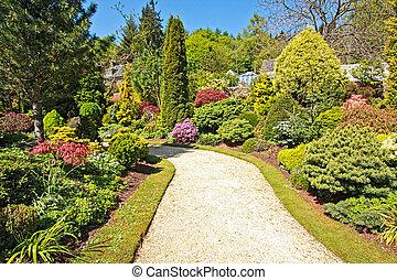 hermoso, jardín, en, tiempo del resorte