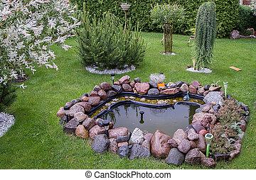 hermoso, jardín fuente