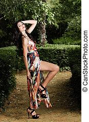 hermoso, jardín, Moda, joven, mujer, modelo