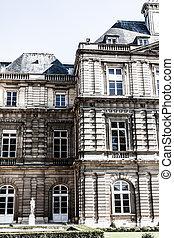 hermoso, jardín, palacio, parís, luxemburgo, francia