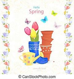 hermoso, jardinería, arreglo, con, flores del resorte, y,...