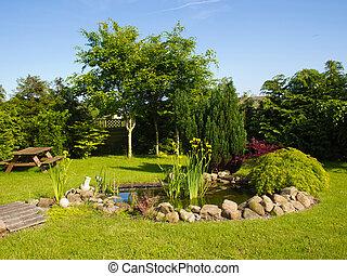 hermoso, jardinería, jardín, clásico, pez, plano de fondo, charca