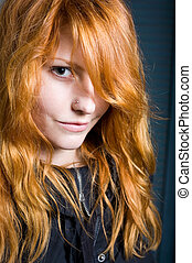 hermoso, joven, girl., flirty, pelirrojo, retrato,...