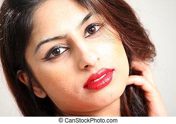 hermoso, joven, indio, dama