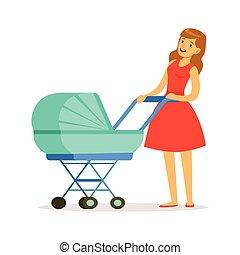 hermoso, joven, madre, en, vestido rojo, ambulante, con, ella, bebé recién nacido, en, un, cochecito niño azul, colorido, vector, ilustración