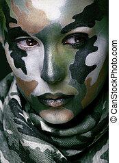 hermoso, joven, moda, mujer, con, militar, estilo, ropa, y,...