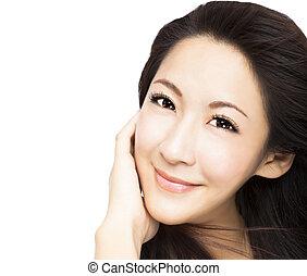 hermoso, joven, mujer asiática, cara