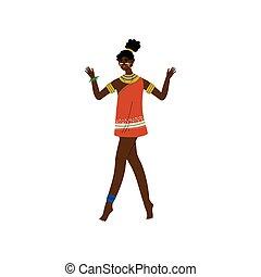 hermoso, joyas, vestido, tribal, africano, aborigen,...
