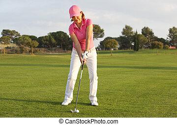 hermoso, jugador, 3º edad, golf, hembra