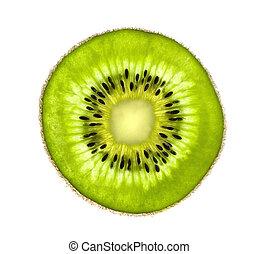 hermoso, kiwi, rebanada, jugoso, aislado, plano de fondo, ...
