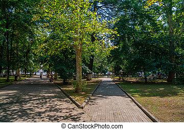 hermoso, kutaisi, central, peatón, georgia., parque, ...