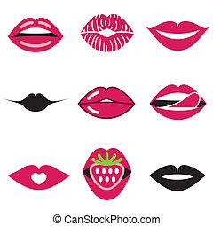 hermoso, labios, conjunto, iconos