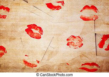 hermoso, labios rojos