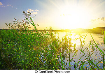hermoso, lago, en, ocaso