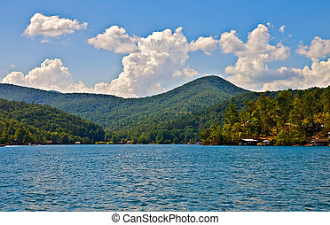 hermoso, lago, y, mountian, vista