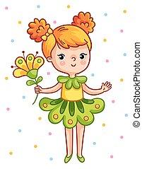 hermoso, lindo, flower., joven, amarillo, tenencia, niña
