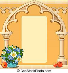 hermoso, lindo, imagen, o, illustration., forma, marco espacio, piedra, foto, caricatura, primer plano, flowers., vector, texto, fresco, adornado, arco, su, tarjeta, saludo