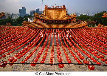 hermoso, linternas, filas, templo, rojo