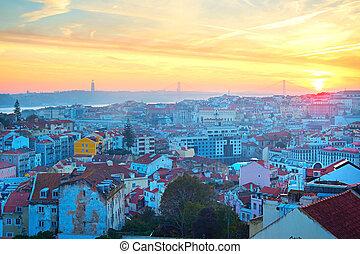 hermoso, lisboa, en, ocaso, portugal