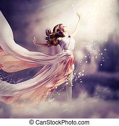 hermoso, llevando, dress., gasa, escena, largo, fantasía,...