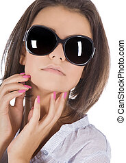 hermoso, llevando, moda, gafas de sol, joven, retrato de mujer, sexy